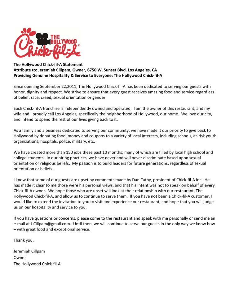 Chick-Fil-A speaks from both sides of its beak | Brobrubel's Blog