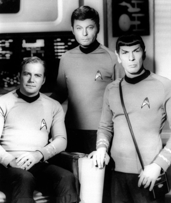 "William Shatner, Deforest Kelley and Leonard Nimoy from the original ""Star Trek."" Nimoy died today."
